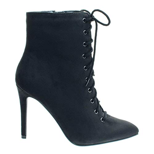 - Cityclassified Stain Black High Heel Combat Lace Up Ankle Bootie w Pointed Toe & Corset -7.5