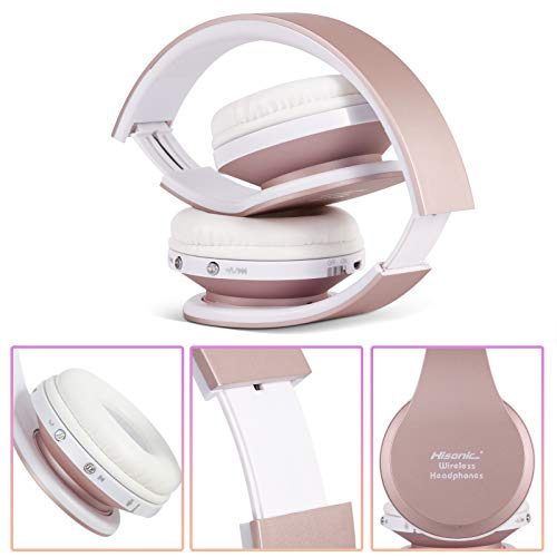 Bluetooth Headphones Wireless, yusonic Foldable Wireless and Wired Stereo Headset Built in Mic for Cell Phones, TV, PC. (Rosegold)