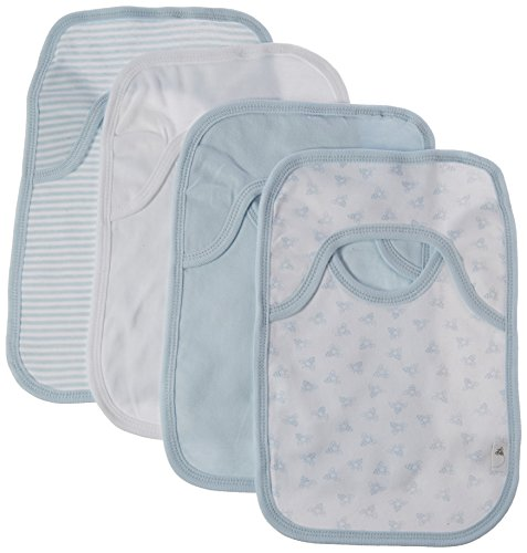 Organic Cotton Bib (Burt's Bees Baby - Set of 4 Bee Essentials Lap Shoulder Bibs, 100% Organic Cotton, Sky Variety)