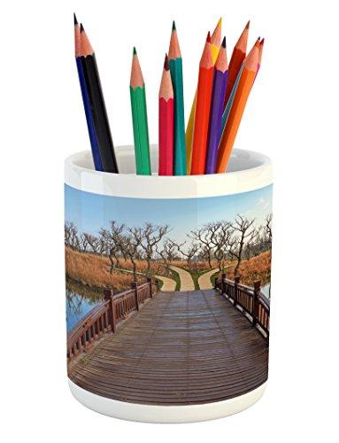 Ambesonne Countryside Pencil Pen Holder, Wetland in Kunming