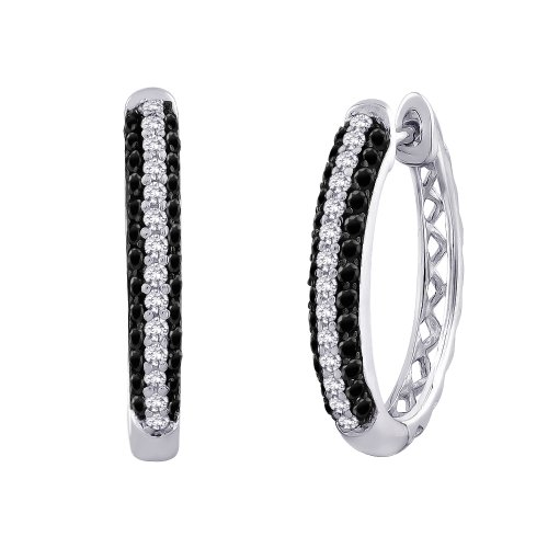 Black and White Diamond Hoop Earrings in 10K White Gold (3/4 cttw) by KATARINA (Image #5)