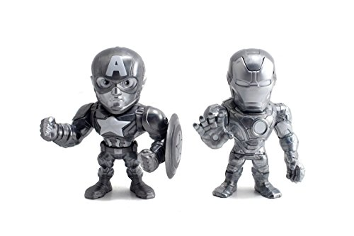 Chloe Twin (Metals Marvel Avengers Civil War-Iron Man and Captain America Die-Cast Collectible Toy Figures-Twin Pack (2 Piece), Silver, 4