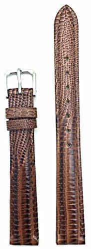 14mm Long, Dark Brown, Classy Teju Lizard Grain, Lightly Padded Watch Band