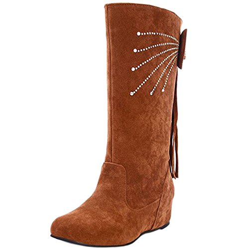 Brown KemeKiss Mid Comfort with Women Calf Hidden Low Heel Boots Yellow Bowtie S7ZPSw