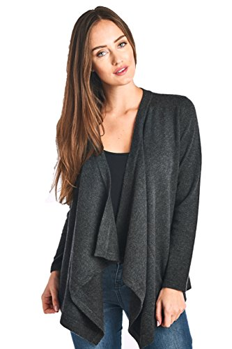 High Style Women's 100% Cashmere Long Sleeve Drape Front Asym Hem Open Cardigan Sweater (17619, Charcoal, M) by High Style