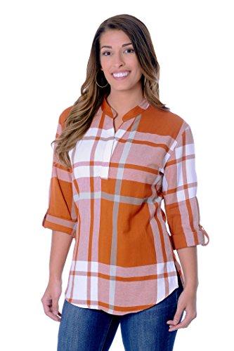 - UG Apparel NCAA Texas Longhorns Adult Women Plaid Tunic, Large, Burnt Orange/White