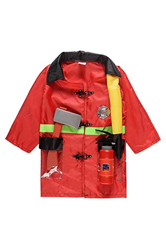 NEWCOS Fireman Costume for Kids Fire fighter accessories Extinguisher Child Halloween Role Play Costumes for $<!--$22.99-->