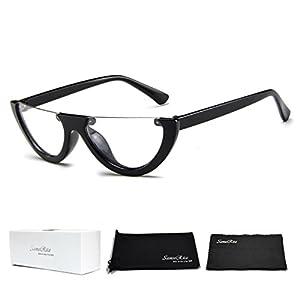 SamuRita Bold Half Lens Frame Cat Eye Sunglasses Mod Tinted Retro Shades(Clear+Black Frame)