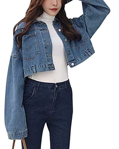 Allentato Cappotto Di Jeans tasca Fashion Outerwear Giacche Marca Elegante Giaccone Multi Corto Con Donna Lunga Button Sciolto Puro Hipster Primaverile Autunno Colore Bello Mode Dunkel Blau Manica qXOw8OZ