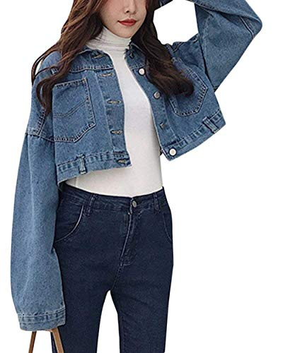Mujeres Hipster Dunkel Abrigos Chaquetas Otoño Mujer De Casuales Con Manga Blau Hermoso Chaqueta Larga Botonadura Battercake Bolsillos Múltiples Corto Mezclilla Anchas Outerwear Primavera 4wq8yPX71z