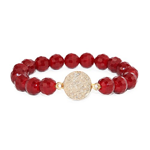 Disco Ball Faceted Glass Beaded Stretch Bracelets with Gold Foiled Druzy Stone (Burgundy)