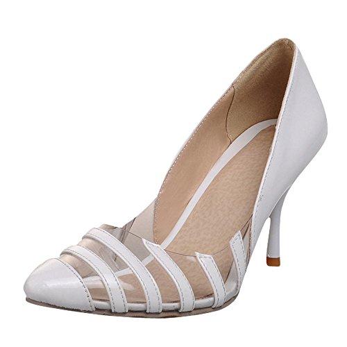 Lackleder Streifen High Stiletto Heel Silber Shine Gericht Charm Show Damen Schuhe POYwnF
