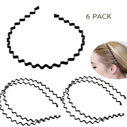 6PCS Black Wavy Metal Hair Band Hoop Adjustable Men Women Elastic Headband Headwear Accessories for Bathing,Washing Face ()