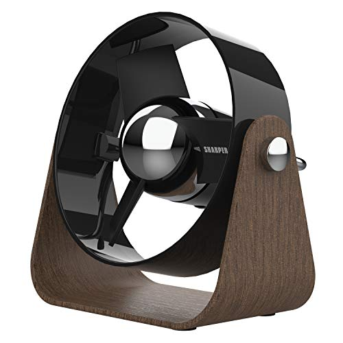 Sharper Image SBS1-SI USB Fan with Soft Blades, 2 Speeds, Touch Control, Quiet Operation, 5V Wall Adapter, 6 ft. Cable, Black