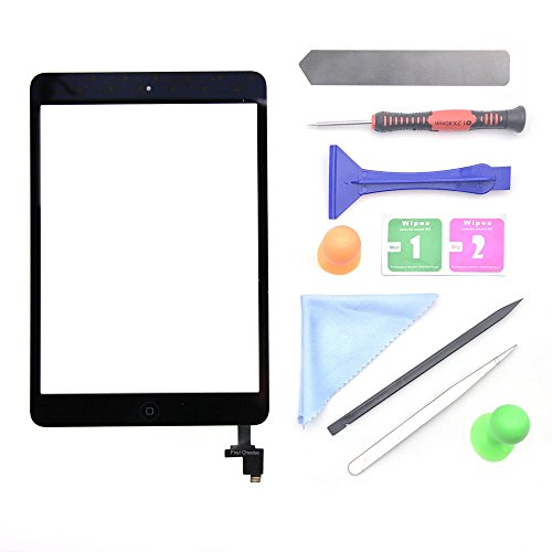 Black iPad Mini 1 or 2 Touch Screen Digitizer Complete Assembly with IC Chip & Home Button replacement with tool kit Chips by First chooes
