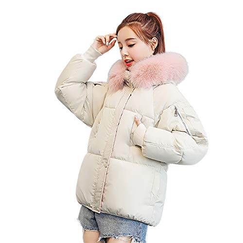 Limsea 2019 Women Winter Essential Warm Thick Outerwear Cotton-Padded Jacket Hooded Slim Coat White (Best Sectional Couches 2019)