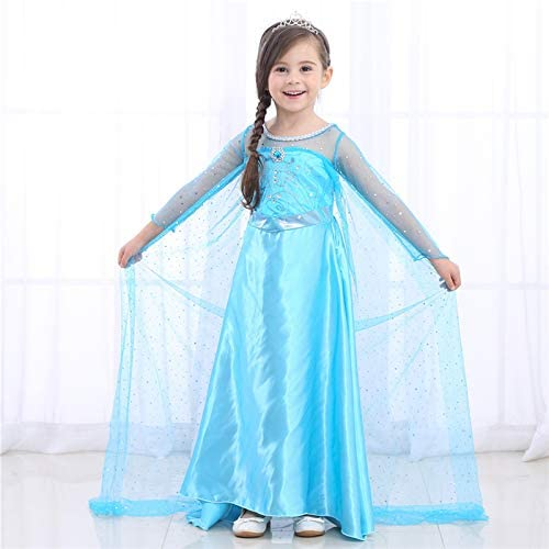 Girls Princess Queen Elsa Cosplay Costume Party Fancy Dress Outfit Clothes 3-10Y