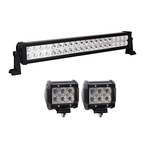 Bangbangche 1X 22'' 120W Flood Spot Combo Led Light Bar, 2X 18W Flood Cree LED Pods Lights, Waterproof Bright Bumper Off Road Lights Jeep Boat Truck Tractor Trailer Mower ATV 4X4, 1 Year Warranty