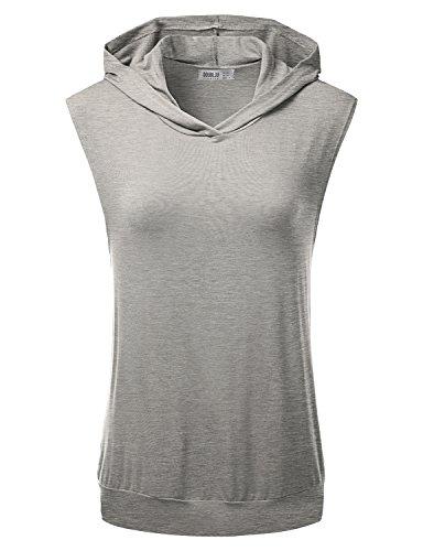 Doublju Women LooseFit Active Wear Sweat with Special Premium Sleeveless HEATHERGRAY Hoodie Top,Medium,M