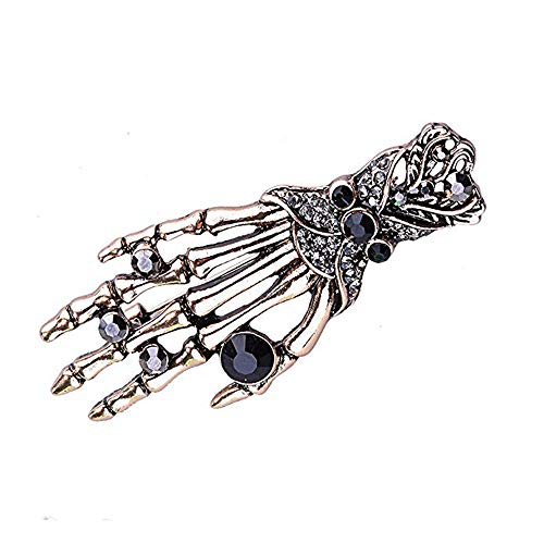 Dwcly Punk Personnality Halloween Skull Hand Broochs Vintage Skeleton Palm Clothes Broach Clips Pin (Gold)