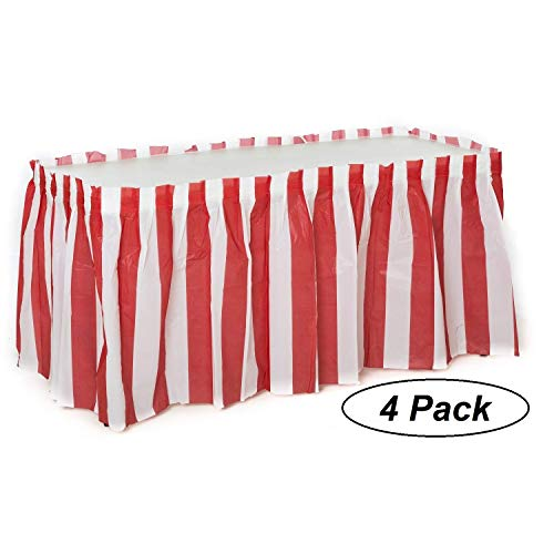 Oojami 4 Pack Red & White Striped Table Skirt Carnival Circus Decorations