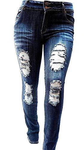 Jack David Womens Plus Size Stretch Distressed Ripped Blue Skinny Denim Jeans Pants (14, JD-N936-R Blue) -