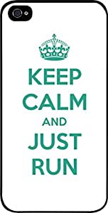 Keep Calm And Just Run-White/Green-Hard Black Plastic Snap - On Case with Soft Black Rubber Lining-Apple Iphone 4 - 4s - Great Quality!