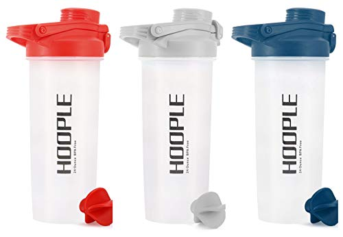HOOPLE Blender Protein Mixinig Cup Shaker Bottle, Gym Sports Water Bottle, Smoothie Mixer Cups, BPA Free, Flip Lid with Powerful Blending Ball Included, 24-Ounce (3 Pack R/N/G)