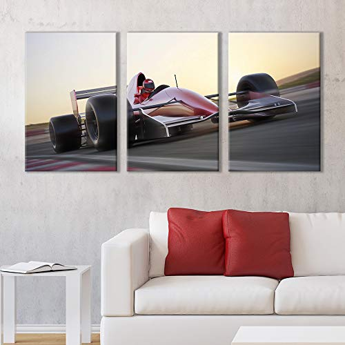 3 Panel Racing Car in Motion at High Speed x 3 Panels