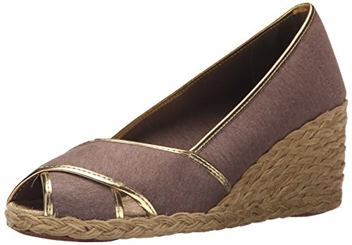 Lauren Ralph Lauren Women's Cecilia II Espadrille Wedge Sandal, Brown/Gold Jersey Knit, 5.5 B US (Ralph Lauren Gold Sandals)