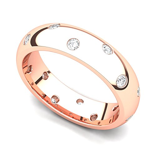 14k Rose Gold Bezel set Diamond Semi Eternity Wedding Band Ring (G-H/SI, 0.42 ct.), 7.5 ()