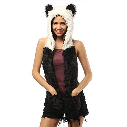 Panda Hat Novelty Ears Festival Animal Hood Faux Fur Hoodie Scarf Gloves Mittens With Paws Furry Hoods For Kids Adults Halloween Christmas Cosplay Costumes (Panda)]()