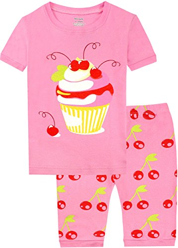 Slenily Girls Pajamas Set Summer Cotton Pink Ice Cream Printed Cute Sleepwear Shorts Size 10