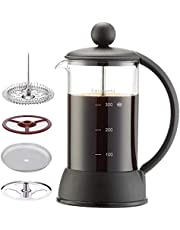 Easyworkz Eclipse French Press Coffee Tea Maker with Innovative 4 Level Filtration System,Easy to Clean Heat Resistant Borosilicate Glass-100% BPA Free 12oz(3Cup) Black