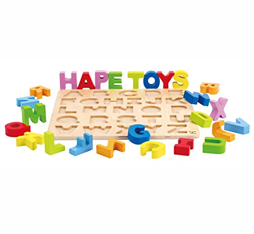 Hape Alphabet Blocks Learning Puzzle | Wooden ABC Letters Colorful Educational Puzzle Toy Board For Toddlers and Kids, Multi-Colored Jigsaw Blocks