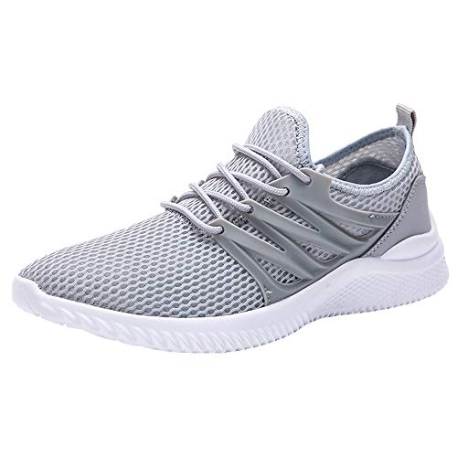 Nomeni Fashion Men's Breathable Mesh Upper Running Shoes Wild Sports Shoes Outdoor Non-Slip Flat Light Leisure Sneakers Grey