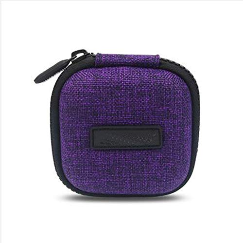 Mini Travel Carrying Cases Portable Protection Shockproof Case Hard Protective Case Impact Resistant USB Cable Organizer Sleeve Adapter Pocket Earphone Travel Wallet Pouch(Purple)