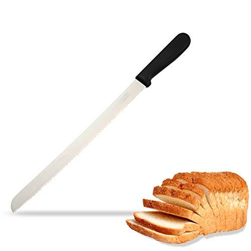 (BOLEX Serrated Bread Knife 10 Inch Wide Wavy Edge knife Stainless Steel Multi-Purpose Kitchen Knife for Cutting Crusty Breads,Cake,Bagel,Soft fruits)