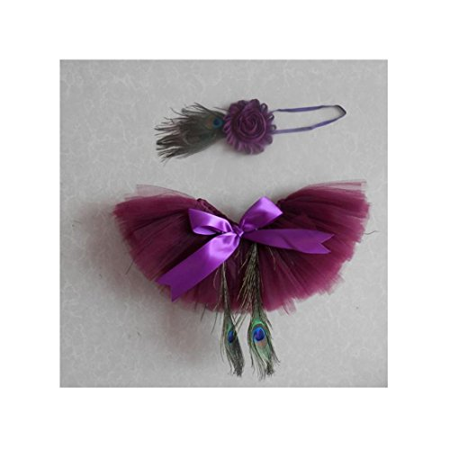 Voberry® Baby Girl Peacock Feathers Headband tutu Dress Costume Photo Prop Outfit