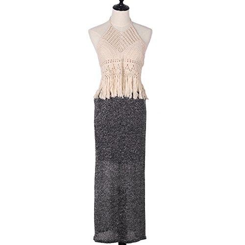 Handmade Crochet Knitting Women Crop Bikini Top Swimming Beach Bra Swimwear Binding Vest Tassel Hollow Backless