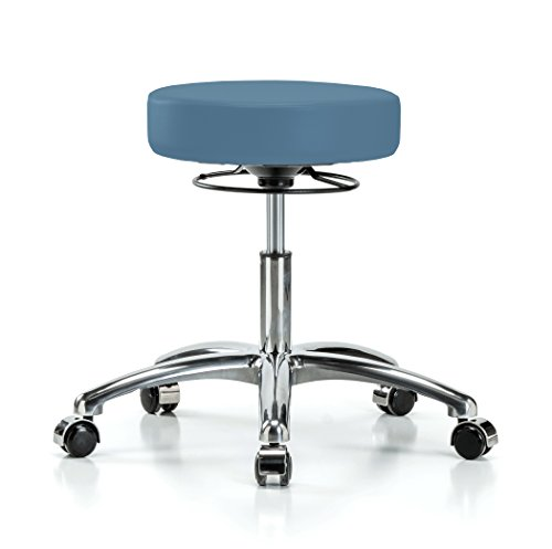 Perch Chrome 360 Degree Rolling Adjustable Massage Therapy Swivel Stool for Hardwood or Tile | Desk Height | 300-Pound Weight Capacity | 12 Year Warranty (Colonial Blue ()