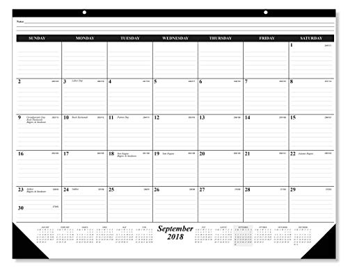 The #1 Academic Desk pad Calendar 16 Months, September 2018- Dececmber 2019; Holidays, Julian Days; Great Durable Quality Beautiful Ruled for Your Memos; 17 x 22 Inches