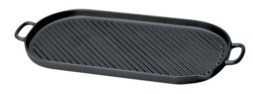 Chasseur Large Black Oval Cast Iron Grill by Paderno World Cuisine