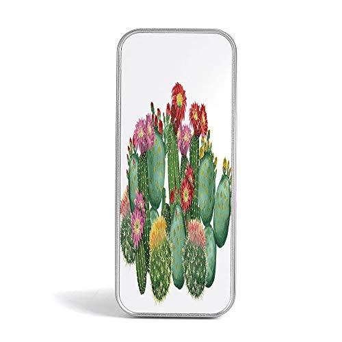Pencil Tin Box,Cactus Decor,Pen Case Organizer for School Office Home,Sketchy Spiked Mexican Garden Foliage Boho Hand Drawn Line Art Cacti in Pots Decorative