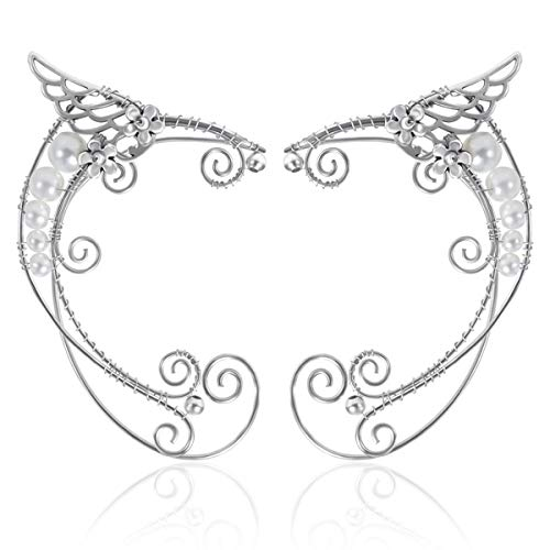 OwMell 1 Pair Elven Ear Cuffs Filigree Cosplay Fairy Elf Ear Cuffs Fantasy Costume Ears -