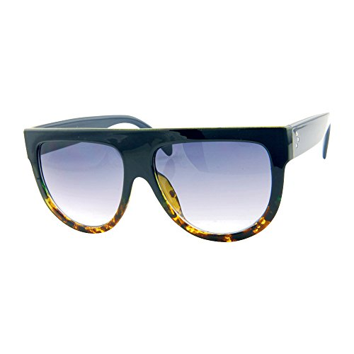 ROXX- Oversized Stylish Womens Mens Blue and Tortoise Celebrity Flat Top - Glasses Flat Top
