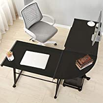 Soges L-Shaped Desk with Tempered Glass Computer Desk with Mainframe and Keyboard Multifunctional Computer Table