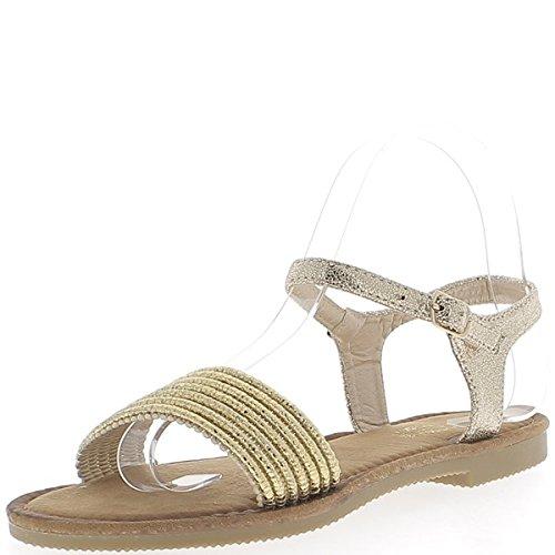 Flache Sandalen Golden mit breiten vorderen Flansch