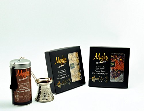 Luxury Ground Turkish Coffee 100% Arabica (Greek Coffee) - Roasted in Wood Fire- Freshly Imported from Istanbul - Mughe Gourmet (Classic Roast Ground, Fancy Tin Gift Box)