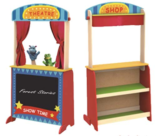 (TOYSTER'S 2-in-1 Wooden Puppet Theater and Workshop | Deluxe Toddler Playset Delivers Hours of Pretend Play | Wood Lemonade Stand with Sturdy Base and Chalkboard | Must-Have Addition to Your Playroom)